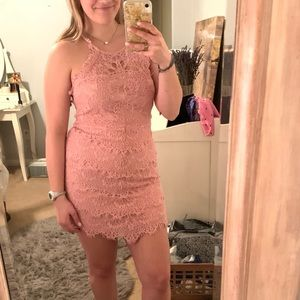 Free People Pink Lace Bodycon Slip Dress